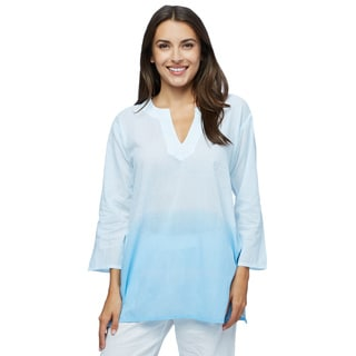 Moksha Imports Women's Fade into Blue Cotton 3/4-sleeves Tunic (India)
