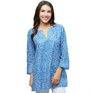 Dream in Navy Blue Cotton Print Tunic (Made in India)