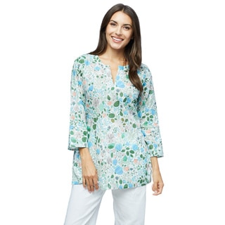 Moksha Imports Women's Flower Power Cotton Floral Print Tunic (India)