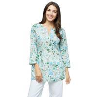 Handmade Moksha Imports Women's Flower Power Cotton Floral Print Tunic (India)