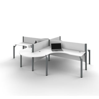 Bestar Pro-Biz Four L-desk workstation with Rounded Corners