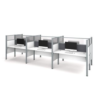 Bestar Pro-Biz Six workstation in White with TackBoards and Acrylic Glass Privacy Panels