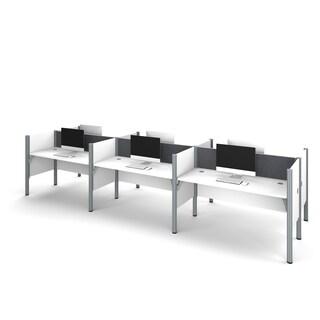 Bestar Pro-Biz Six workstation in White with TackBoards (Option: Grey/White)