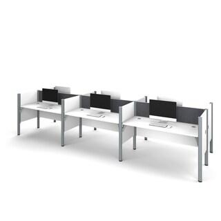 Bestar Pro-Biz Six workstation in White with TackBoards