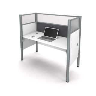 Bestar Pro-Biz Simple workstation in White with TackBoard and Acrylic Glass Privacy Panels
