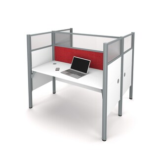 Bestar Pro-Biz Double face to face workstation in White with TackBoards and Acrylic Glass Privacy Panels