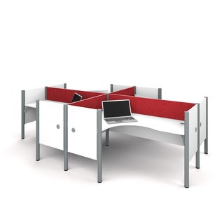 Bestar Pro-Biz Four L-desk Workstation with Tackboards