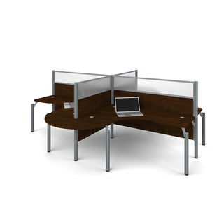 Bestar Pro-Biz Four L-desk workstation with acrylic glass privacy panels