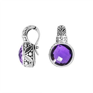 Handcrafted Sterling Silver Round Faceted Gemstone Enhancer Pendant (Indonesia)