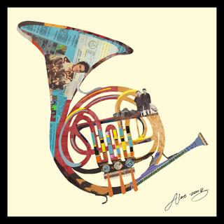 """""""Funky French Horn"""" Hand Made Art Collage in Solid Wood Black Frame Under Glass Wall Art - Multi-color"""