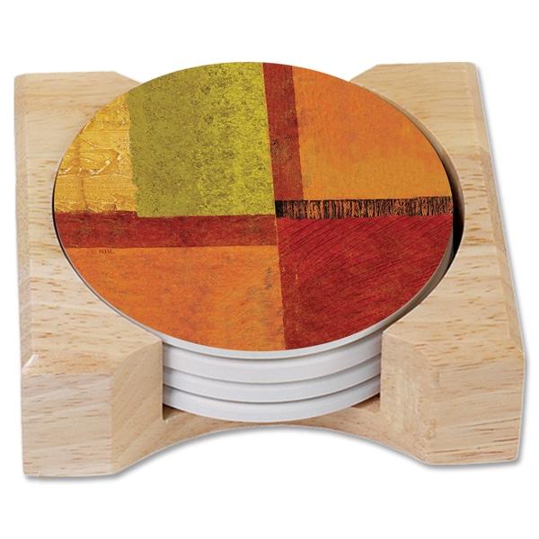 //Wooden Holder Set of 4 Counterart Absorbent Stone  Coaster Mediterranean