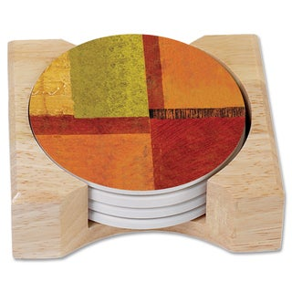 Counterart Harmony Absorbent Stone Coasters in Wooden Holder (Set of 4)