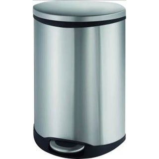 Household Essentials Step-On Bin Grey/Silver Stainless Steel/Rubber/Plastic 30-Liter Shell Shaped Trash Can