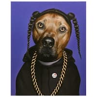 Empire Art Pets Rock 'Rap' High Resolution Giclee Printed on Cotton Canvas