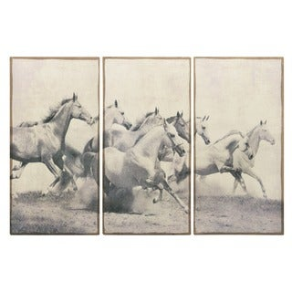 Empire Art 'Stampeding Herd' Fresco Image Printed on Hand-applied Plaster Jute