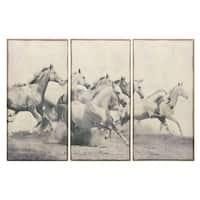 Empire Art 'Stampeding Herd' Fresco Image Printed on Hand-applied Plaster Jute