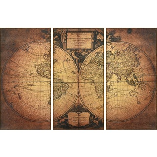 Empire Art 'World 1752' Fresco Image Printed-on Hand-applied Plaster Jute