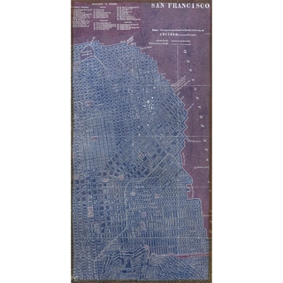 Empire Art 'Antique Map of San Francisco' Fresco Printed on Hand-applied Plaster Jute