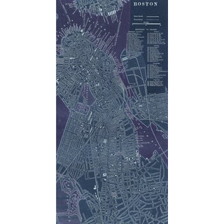 Empire Art 'Antique Map of Boston' Fresco Image on Hand Applied Plaster