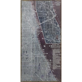 Empire Art 'Antique Map of Chicago' Fresco Printed on Hand-applied Plaster Jute