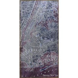 Empire Art 'Antique Map of New York' Fresco Image Printed on Hand Applied Plaster Jute