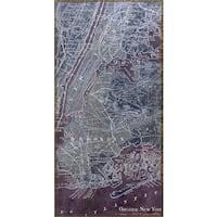 Empire Art 'Antique Map of New York' Fresco Image Printed on Hand Applied Plaster Jute