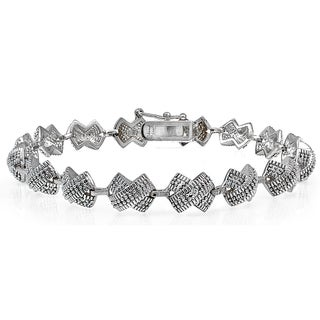 DB Designs Silvertone Genuine Diamond Accent X Tennis Bracelet