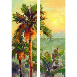 Empire Art 'Desert Oasis 2' Fresco Image Printed on Hand-applied Plaster Jute