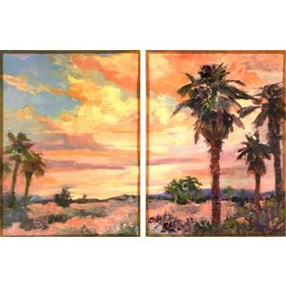 Empire Art 'Desert Oasis 1' Fresco Printed on Hand-applied Plaster Jute