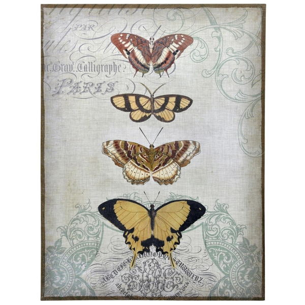 Empire Art 'Painted Butterflies' Fresco Printed on Hand-applied Plaster Jute