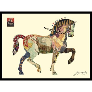 Empire Art 'Carousel Horse' Hand Made Art Collage by Alex Zeng in Solid Wood Black Frame