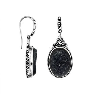 Handmade Sterling Silver Druzy Oval Dangle Earrings (Indonesia) (Option: Druzy)