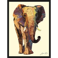 Empire Art 'Elephant' Hand Made Art Collage by Alex Zeng in Solid Wood Black Frame