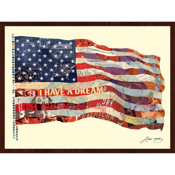 """""""Old Glory"""" Hand Made Art Collage in Solid Wood Dark Brown Frame Under Glass Wall Art - Multi-color"""