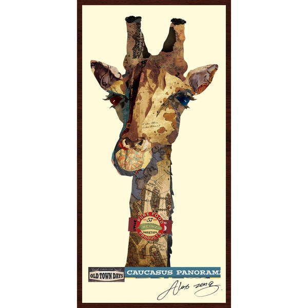 Giraffe Hand Made Art Collage In Solid Wood Dark Brown Frame Under Glass Wall Art Multi Color