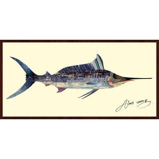 Empire Art Alex Zeng 'Blue Marlin Collage' Framed Art