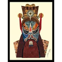 Empire Art 'Beijing Opera Mask #2' Hand Made Art Collage by Alex Zeng in Solid Wood Black Frame