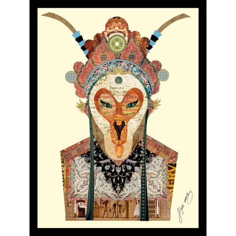 """""""Beijing Opera Mask No. 1"""" Hand Made Art Collage in Solid Wood Black Frame Under Glass Wall Art - Multi-color"""
