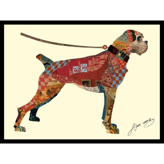 Alex Zeng 'Boxer Collage' Framed Signed Canvas Wall Art