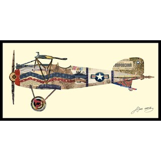 """Antique Biplane #3"" Hand Made Art Collage in Solid Wood Black Frame Under Glass Wall Art - Multi-color"