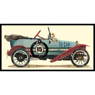 """""""Antique Automobile #1"""" Hand Made Art Collage in Solid Wood Black Frame Under Glass Wall Art - Multi-color"""