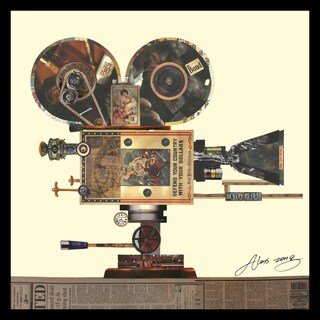 """""""Antique Film Projector"""" Hand Made Art Collage in Solid Wood Black Frame Under Glass Wall Art - Multi-color"""