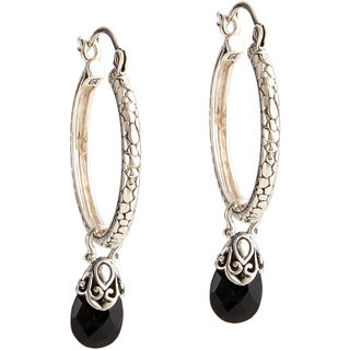 Handmade Sterling Silver Gemstone Charm Hoop Earrings (Indonesia)