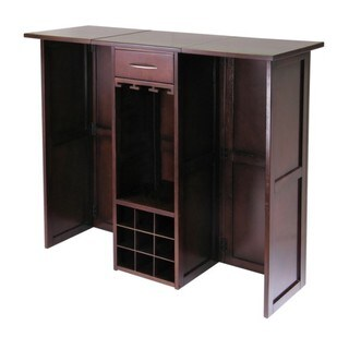 Newport Walnut Wood Home Indoor Storage Wine Bar