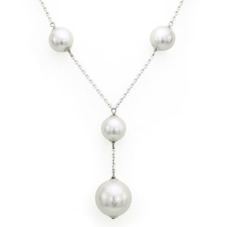 DaVonna Sterling Silver 14mm and 20mm White Shell Pearls Chain Necklace