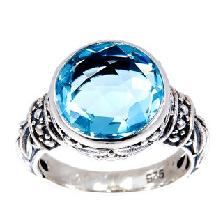 Handmade Sterling Silver Round Blue Topaz Bali Ring (Indonesia)