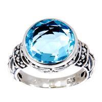 Handmade Sterling Silver Round Blue Topaz Bali Ring (Indonesia) - LIGHT BLUE