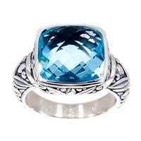 Handmade Sterling Silver Square Blue Topaz Bali Ring (Indonesia) - LIGHT BLUE