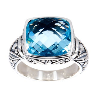 Handmade Sterling Silver Square Blue Topaz Bali Ring (Indonesia) - LIGHT BLUE