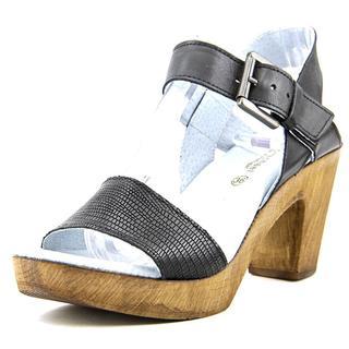 Eric Michael Women's Dallas Black Leather Platform Sandals
